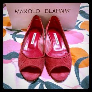 Manolo Blahnik Suede Mauve Peeptoe Flats - Size 8